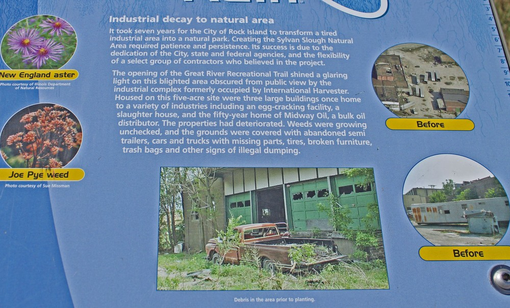 There are signs throughout this 5 acre former industrial site that explain how they converted in a green way...